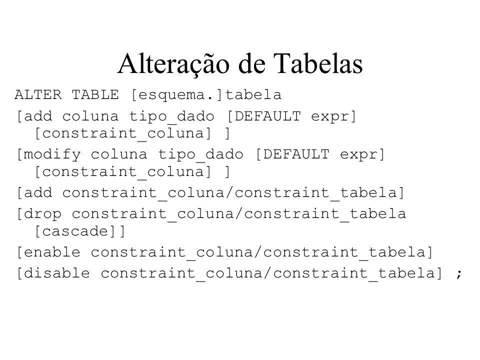 Alteração de Tabelas ALTER TABLE [esquema.]tabela